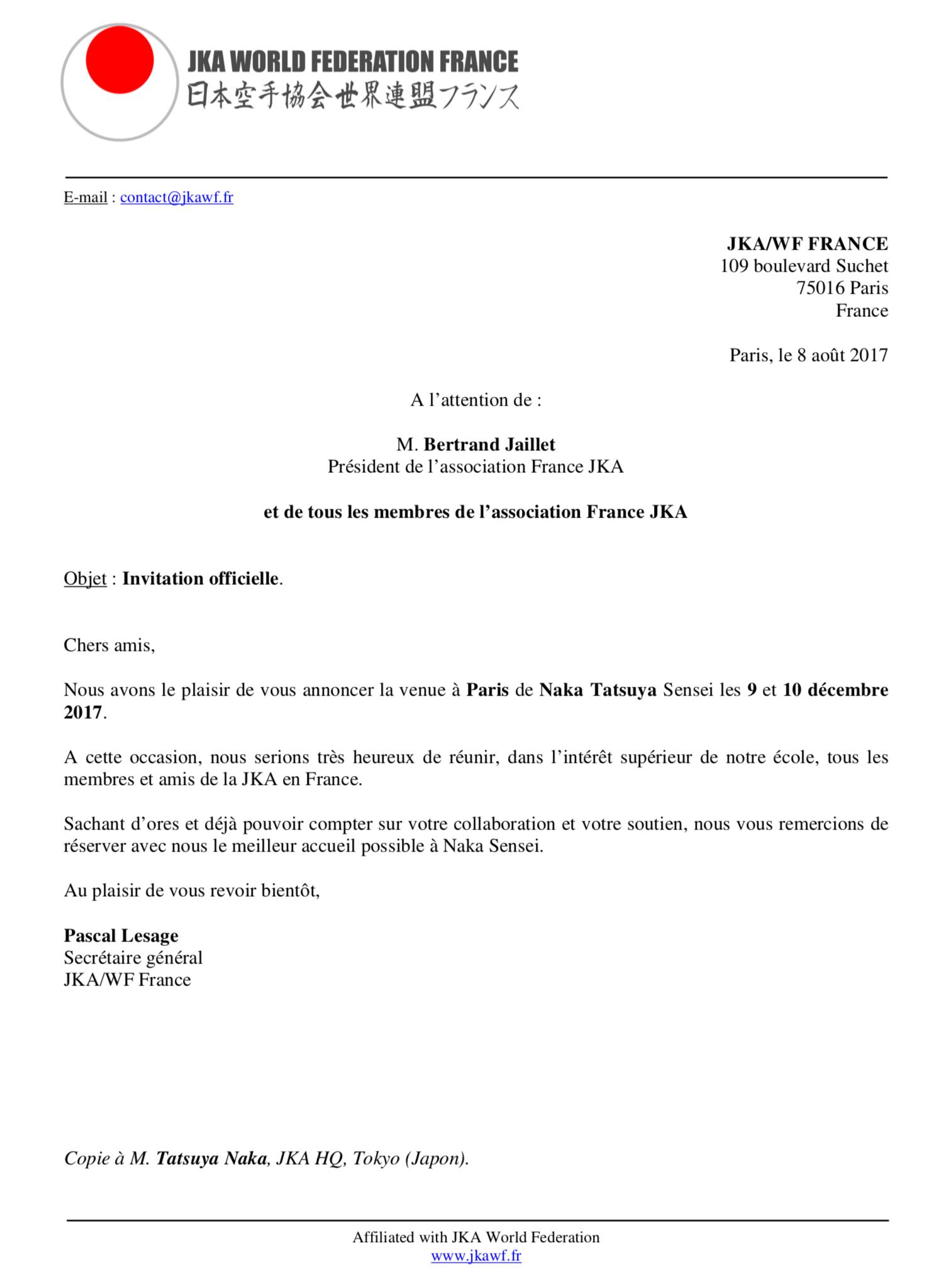 lettre dinvitation officielle